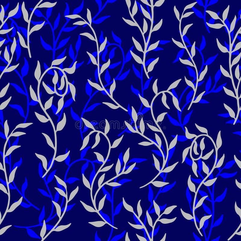 Liane verbreitet Muster-Hintergrundvektor der blauen Blattkriechpflanze nahtlosen stock abbildung