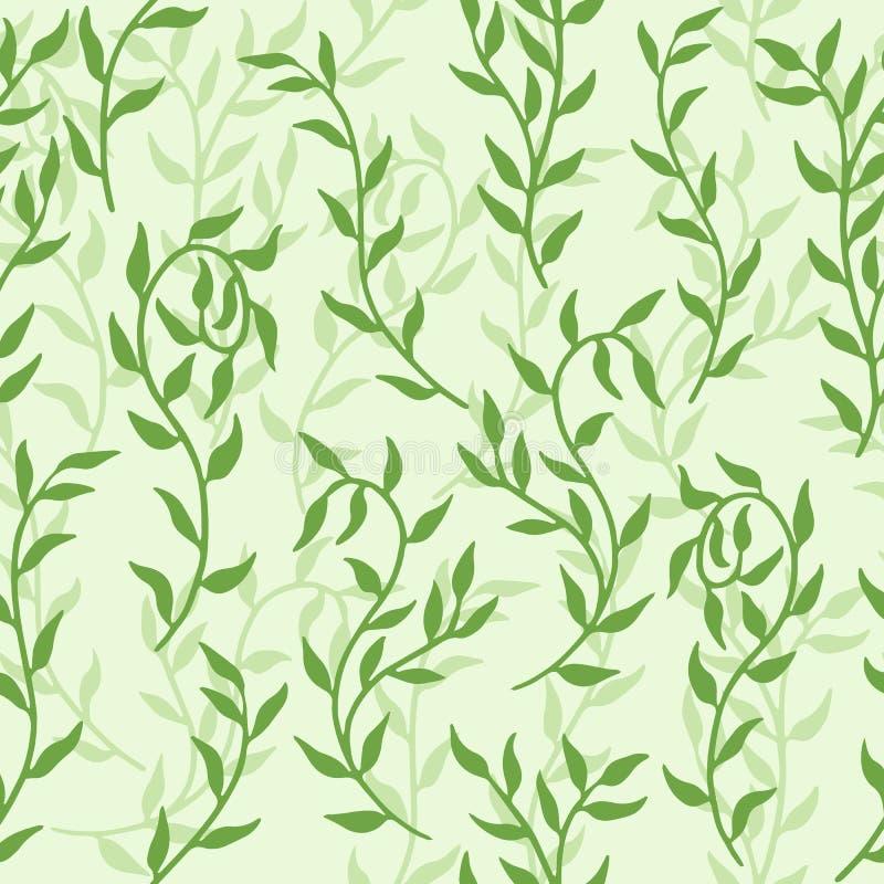 Liane verbreitet Muster-Hintergrundvektor der grünen Blattkriechpflanze nahtlosen lizenzfreie abbildung