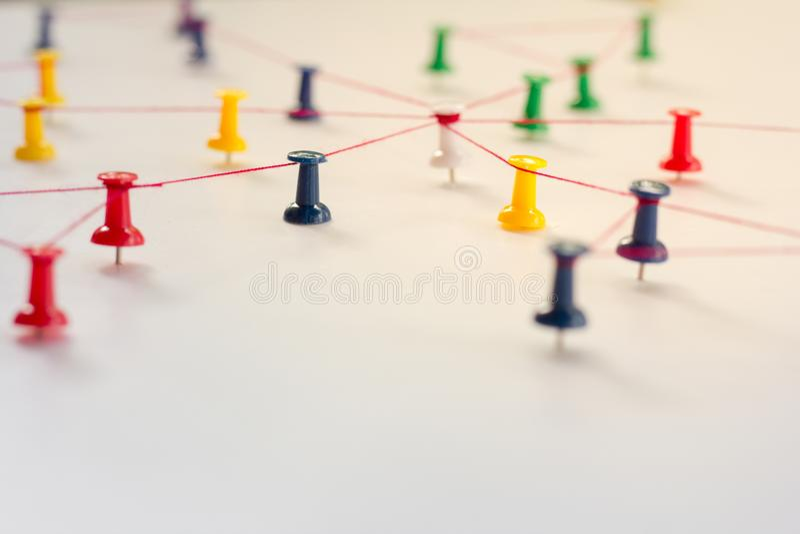 Liant des entités, simulation de réseau, media social, photo stock