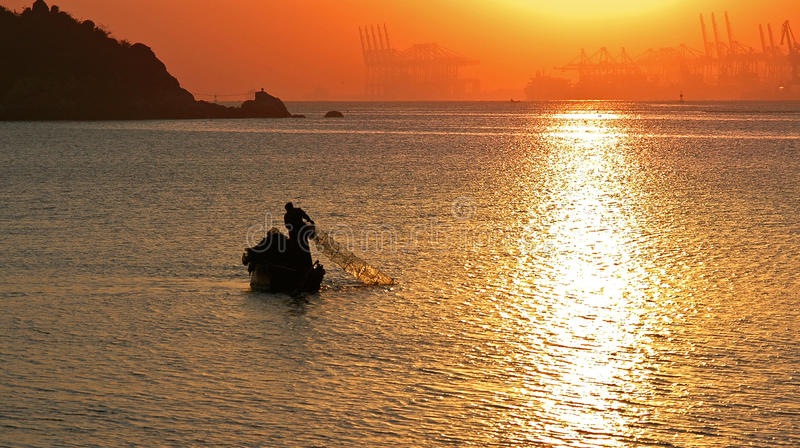 Lianyungang Harbour In Sunrise Stock Photos