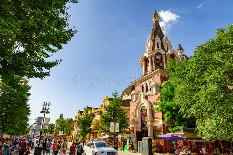 Russian street, Dalian, Liaoning, China. Liaoning, China - 27 August 2016: Tourist crowd at popular Russian street with iconic Russian architecture royalty free stock image