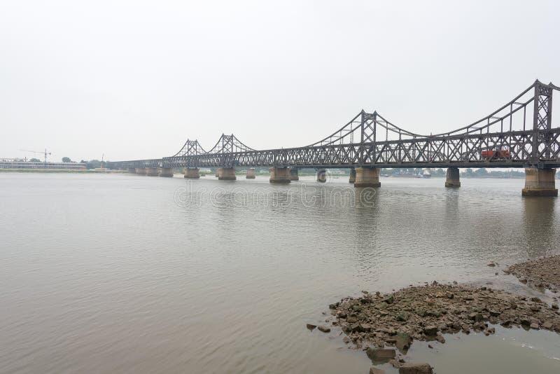 LIAONING, CHINA - Jul 28 2015: China-North Korea Friendship Bridge. a famous historic site in Dandong, Liaoning, China. royalty free stock photo