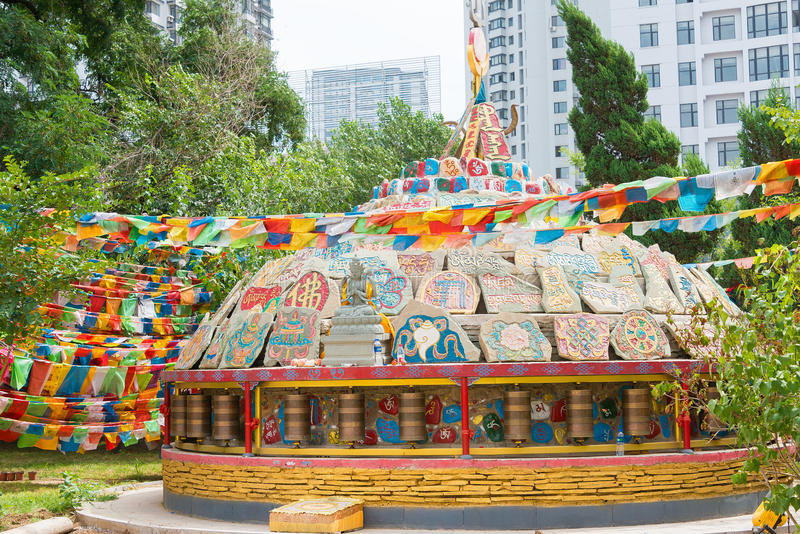 LIAONING CHINY, Aug, - 05 2015: Shisheng świątynia obraz royalty free