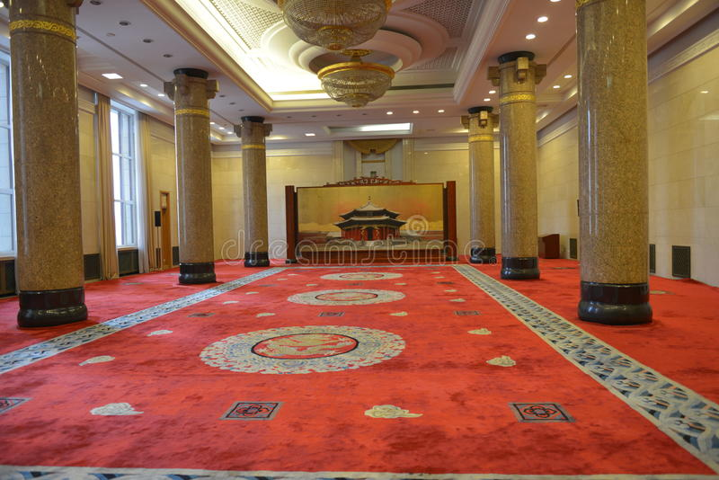 The Liaoning Hall in the Great hall of the people in Beijing, China. The Great Hall of the People is a state building located at the western edge of Tiananmen stock images