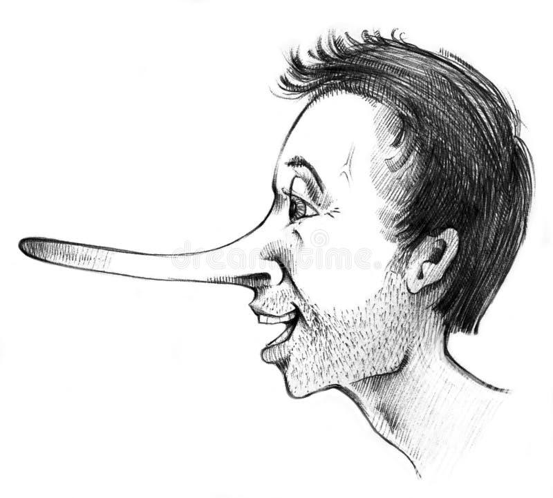 Liar guy. Illustration of long nose liar guy royalty free illustration