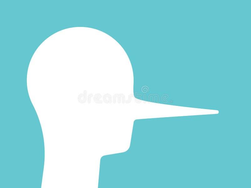 Liar head, long nose vector illustration