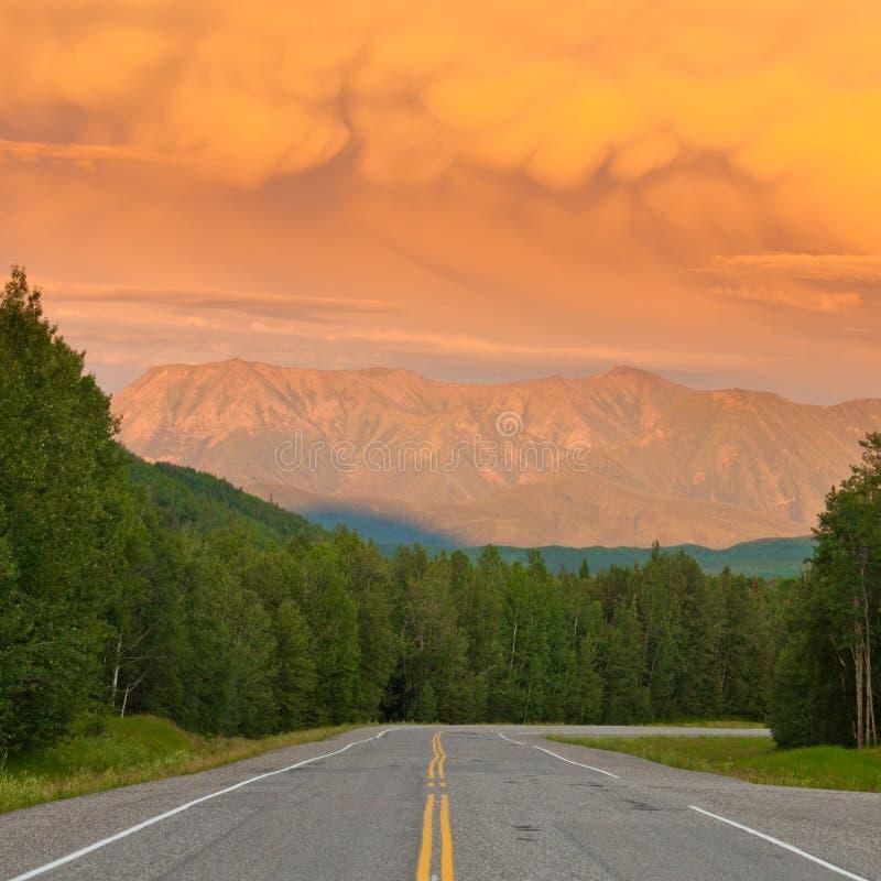 Liard River valley Alaska Highway BC Canada sunset stock image