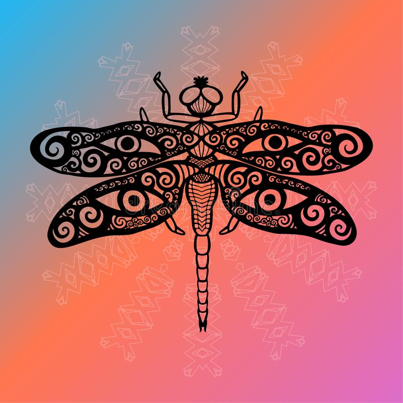 A libélula étnica estilizado com swirly as asas projeta e os olhos humanos em suas asas no espírito animal H do totem brilhante d ilustração stock