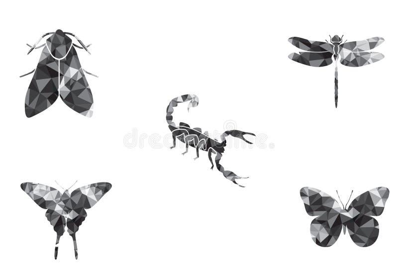 Libélula ajustada do escorpião da traça da borboleta do ícone dos insetos ilustração royalty free
