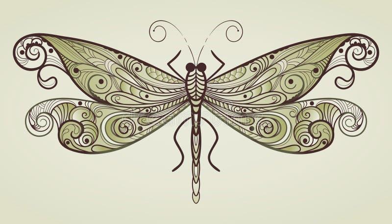 libélula com teste padrão original ilustração stock