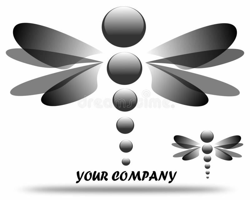 Libélula de tiragem do preto do logotipo da empresa ilustração stock