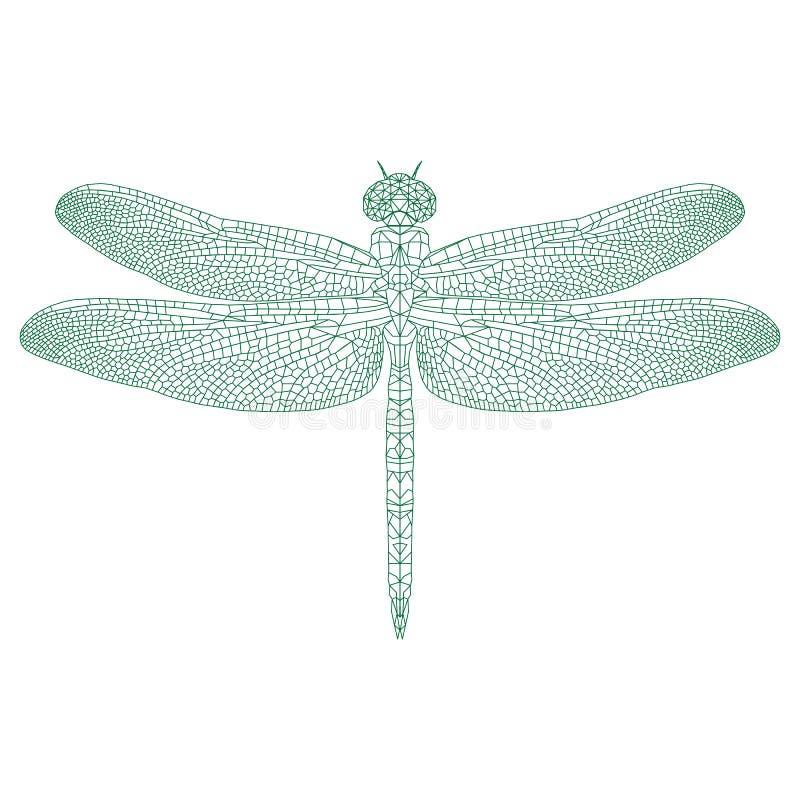 Libélula Del Mosaico Para Colorear Y El Diseño Ilustración del ...