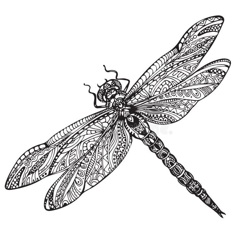 Libélula dibujada mano en estilo del zentangle ilustración del vector