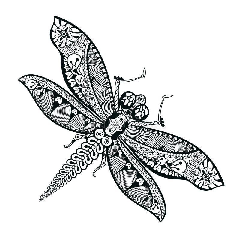 Libélula dibujada mano en estilo del zentangle Illust animal modelado stock de ilustración