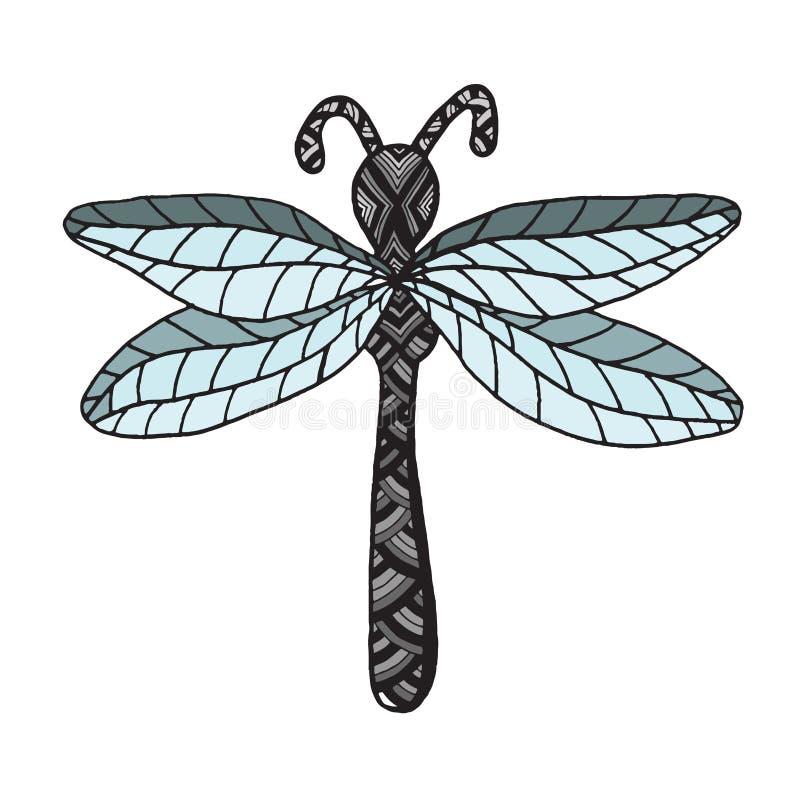 Libélula do inseto no fundo branco ilustração do vetor