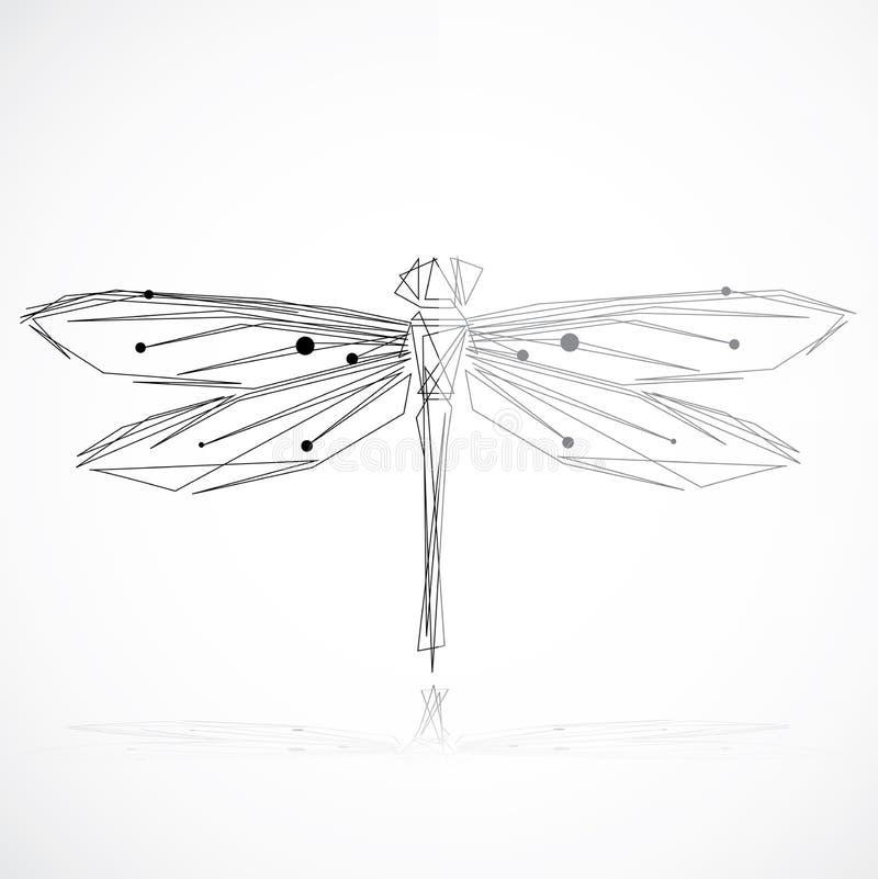 Libélula elegante minimalista ilustração do vetor