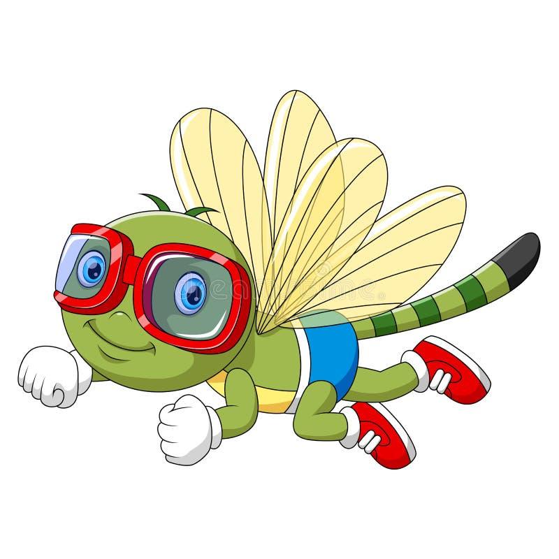 Libélula engraçada dos desenhos animados usando óculos de proteção ilustração do vetor