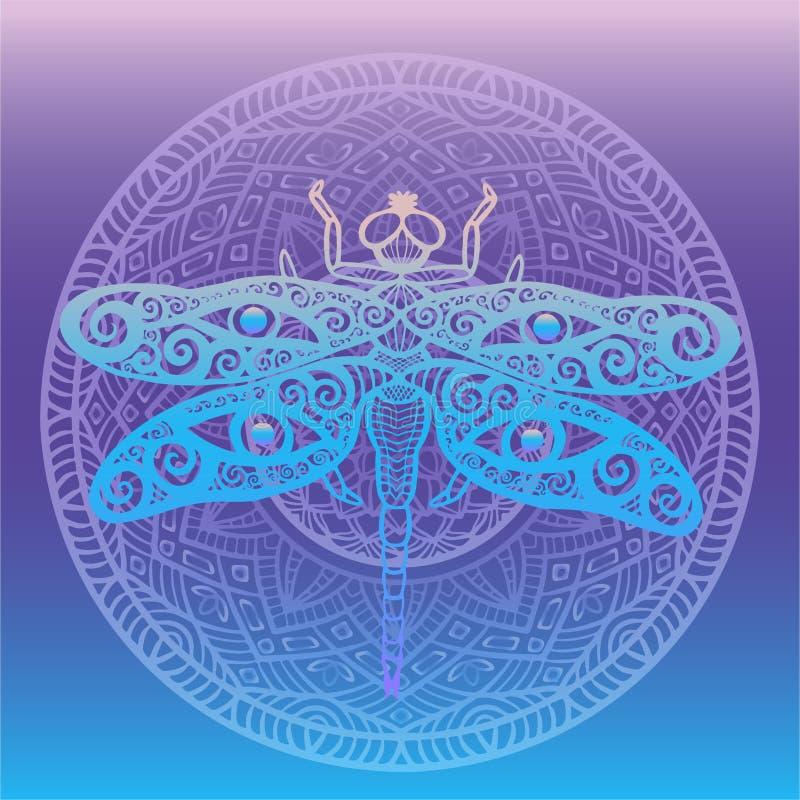 A libélula estilizado com swirly as asas projeta e os olhos humanos em suas asas moldado com a mandala floral no totem do fundo d ilustração stock