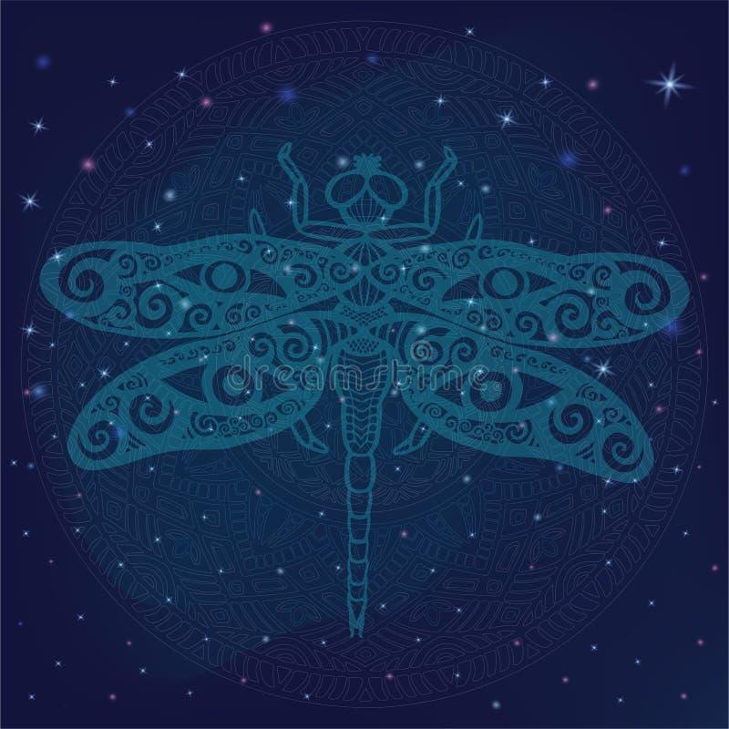 A libélula estilizado da fantasia com os olhos humanos em suas asas no espaço galáctico brilhante, estrela de incandescência ilum ilustração do vetor