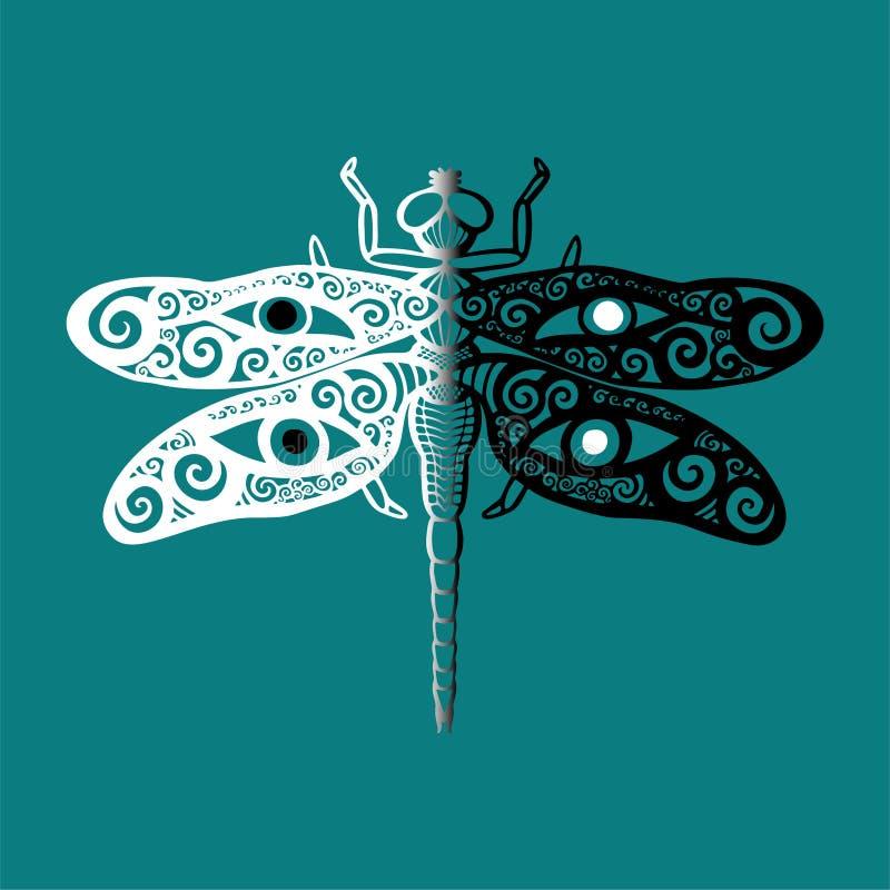 A libélula estilizado em preto e branco com swirly as asas projeta e os olhos humanos em suas asas no espírito animal do totem az ilustração royalty free