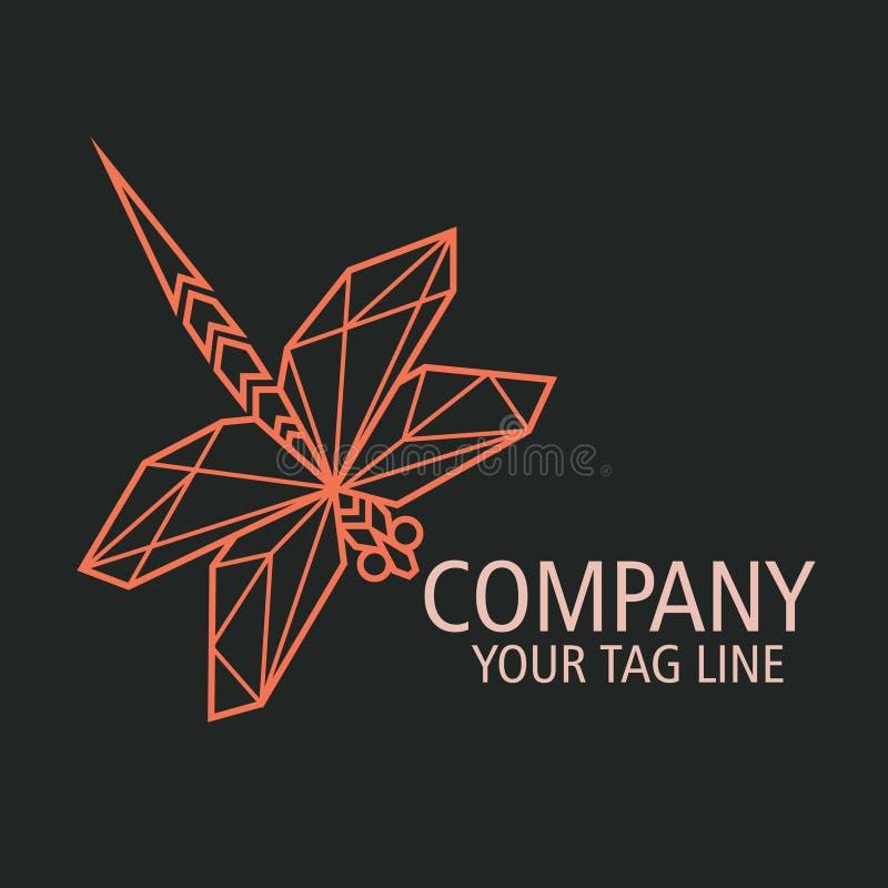 Libélula Logo Concept Minimal do negócio ilustração stock