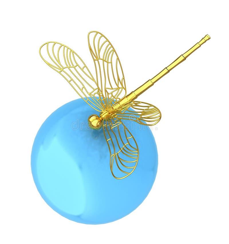 Libélula na esfera abstrata do projeto ilustração do vetor