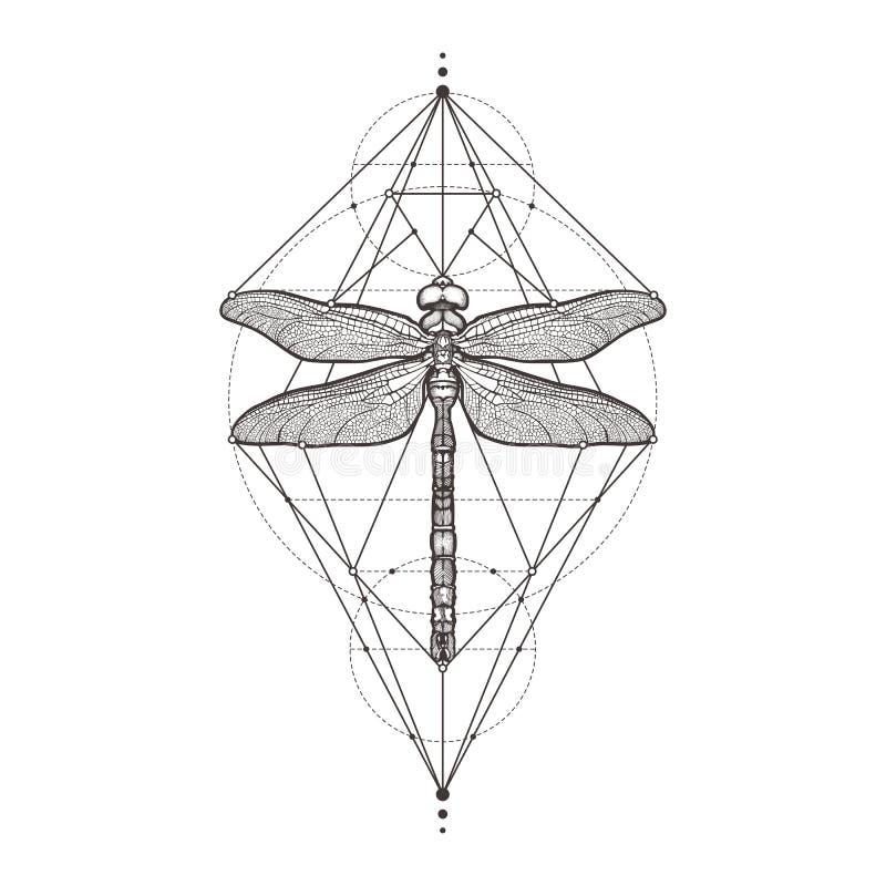 Libélula negra Aeschna Viridls, aislado en el fondo blanco Bosquejo del tatuaje Símbolos místicos e insectos alquimia ilustración del vector