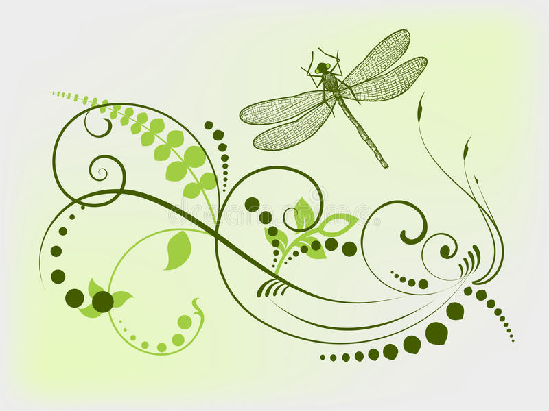 Libélula orgánica stock de ilustración