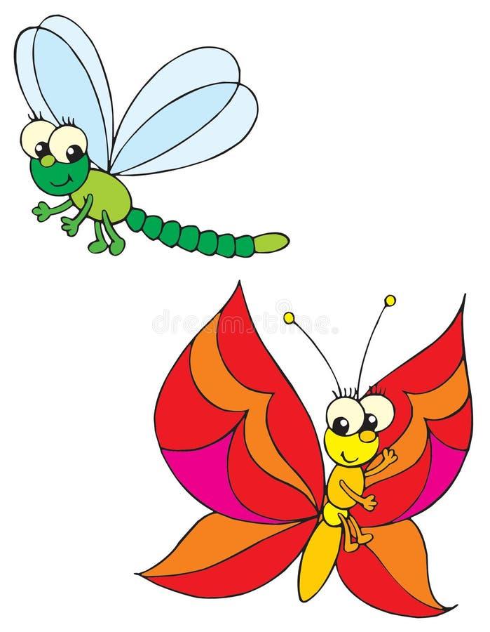Libélula y mariposa stock de ilustración