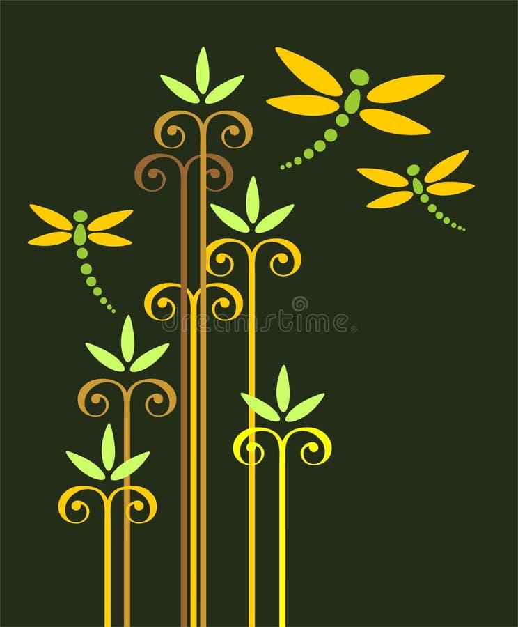 Libélulas e plantas ilustração do vetor