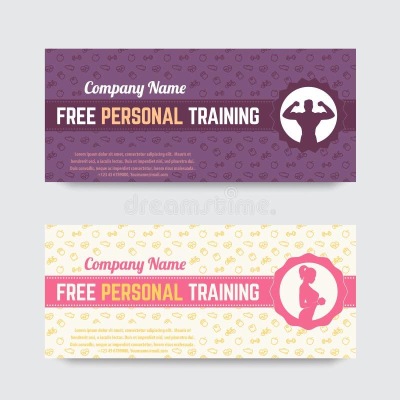 Libérez la formation personnelle, conception de bon de cadeau pour le gymnase, centre de fitness illustration de vecteur