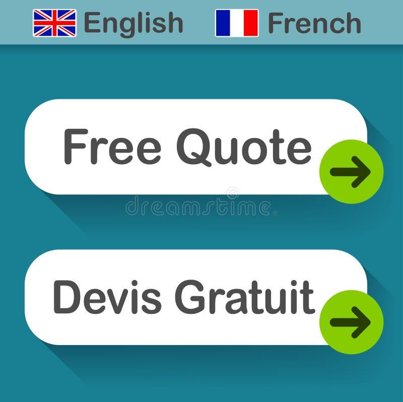 Libérez le bouton de citation avec la traduction française illustration de vecteur