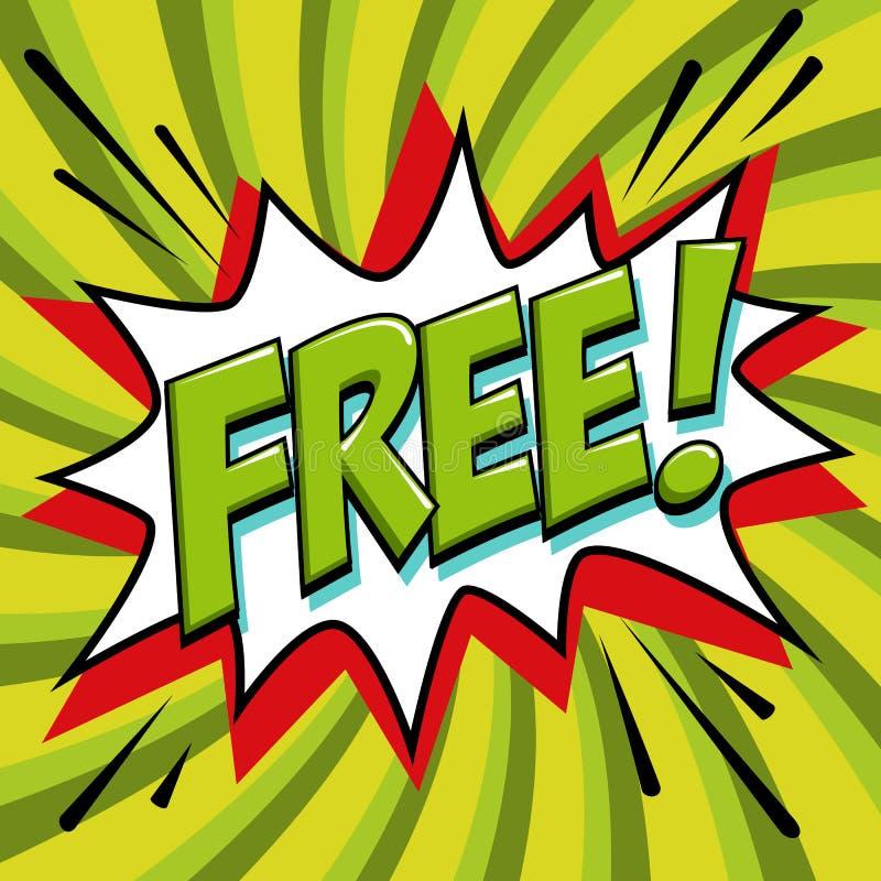 Libérez - le mot de style de bande dessinée sur un fond vert Bannière gratuite dans le style comique d'art de bruit Bannière d'ét illustration de vecteur