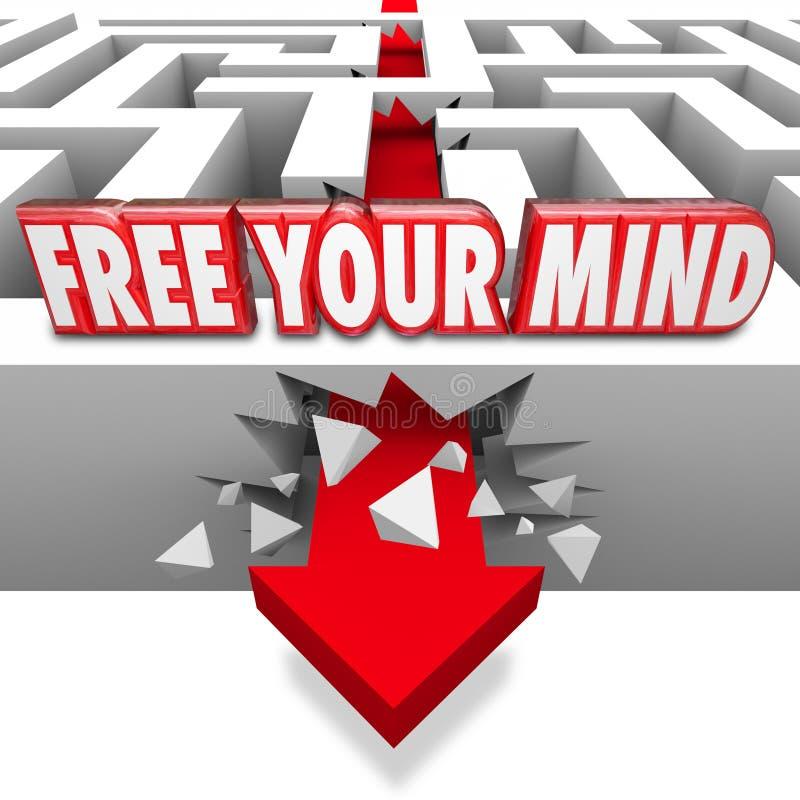 Libérez votre flèche de mots d'esprit traversant Maze Creative Imagin illustration libre de droits