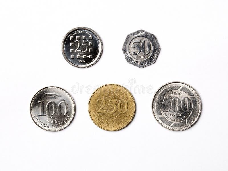 Libańczyk monety na białym tle