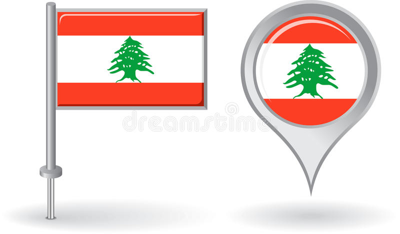 Libańczyk wałkowa ikona i mapa pointeru flaga wektor royalty ilustracja