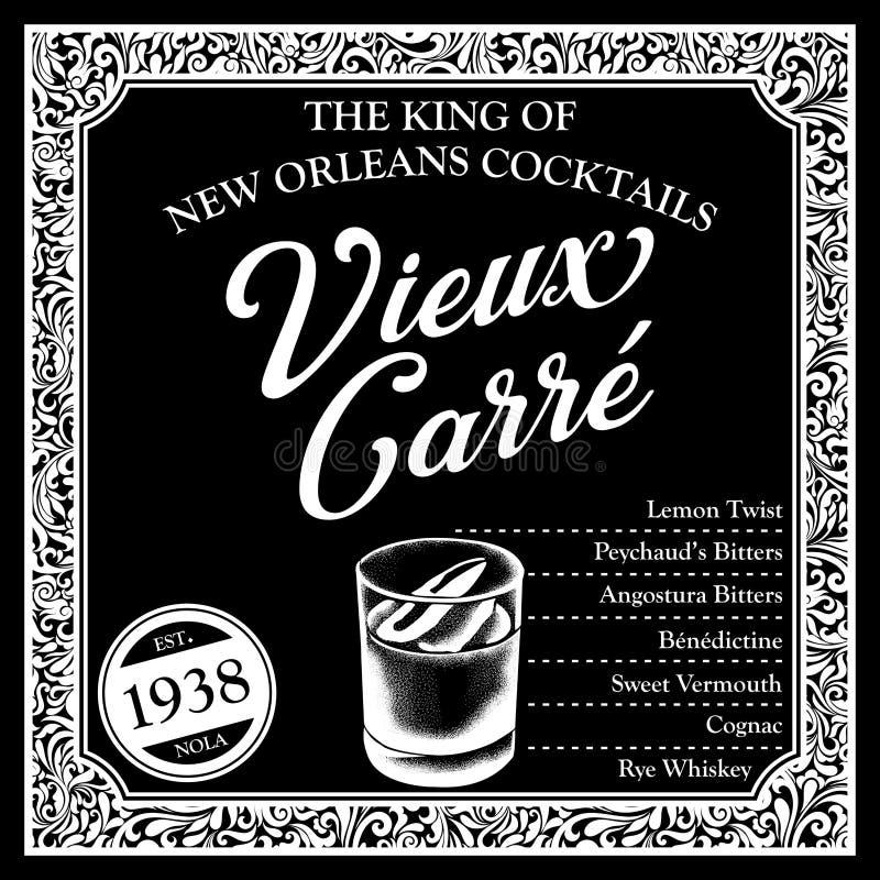 Libagioni storiche della raccolta degli ingredienti del cocktail di New Orleans illustrazione vettoriale
