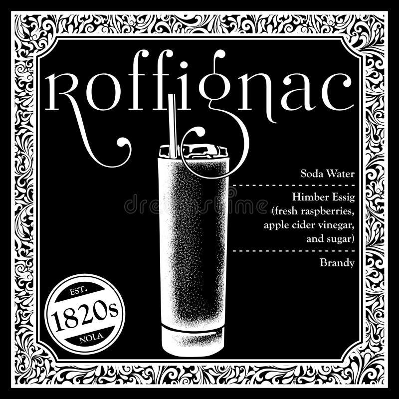 Libagioni storiche della raccolta degli ingredienti del cocktail di New Orleans illustrazione di stock