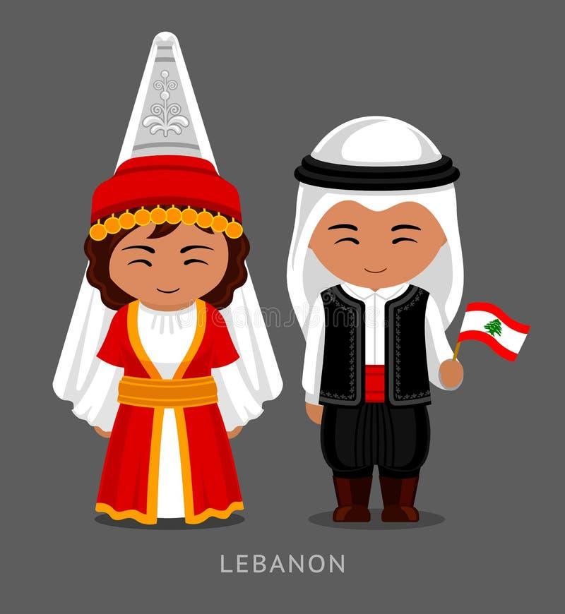 Libanés en vestido nacional con una bandera stock de ilustración