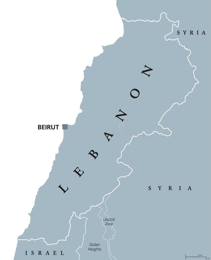Liban polityczna mapa ilustracji