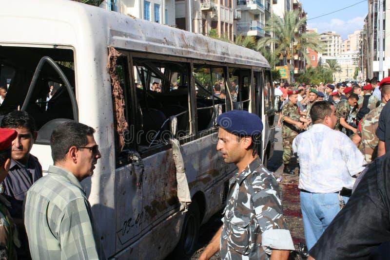 Libanesisk explosion arkivbilder