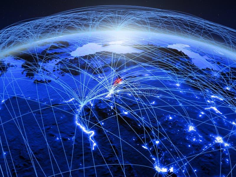 Libanon op blauwe digitale aarde met internationaal netwerk die mededeling, reis en verbindingen vertegenwoordigen 3d royalty-vrije stock foto's