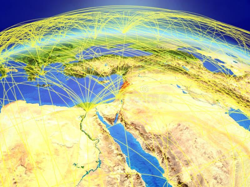 Libanon ter wereld met netwerk royalty-vrije stock foto