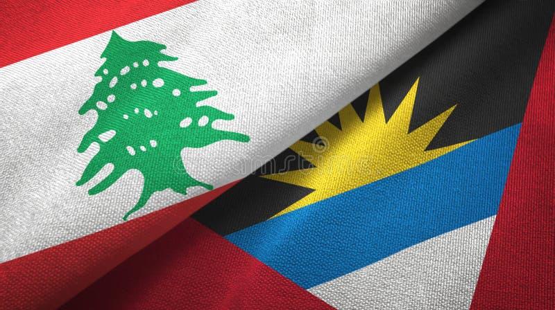 Libanon- und Antigua und Barbuda-zwei Flaggentextilstoff, Gewebebeschaffenheit stock abbildung