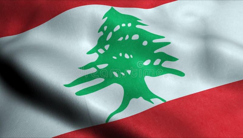 Libanon vinkande flagga i 3D vektor illustrationer