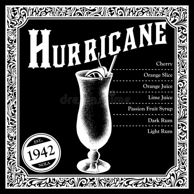 Libations historiques de collection d'ingrédients de cocktail de la Nouvelle-Orléans illustration libre de droits