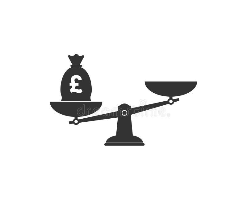 Libbra, icona della scala Illustrazione di vettore, progettazione piana royalty illustrazione gratis