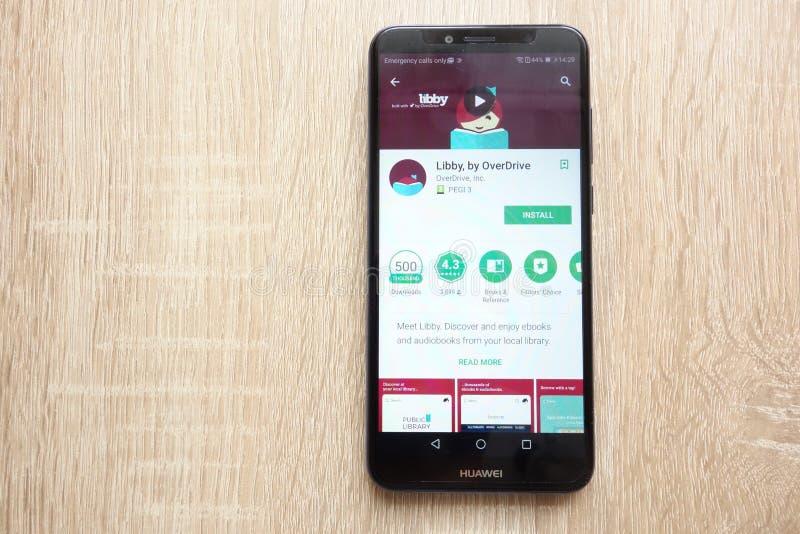 Libby, durch Schnellgang App auf der Google Play Store-Website angezeigt auf Smartphone 2018 Huaweis Y6 lizenzfreie stockfotos