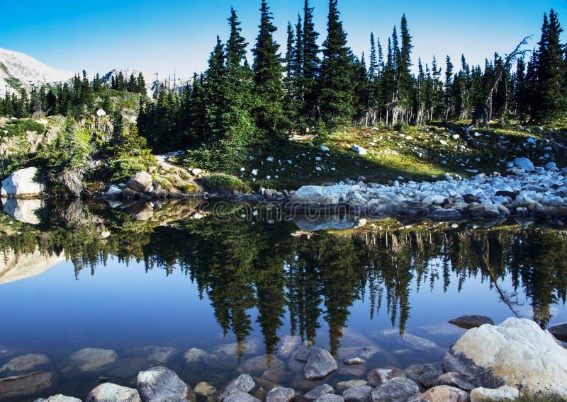 Libby Lake Sunrise Reflection in den Snowy-Strecken-Bergen von Wy stockbilder