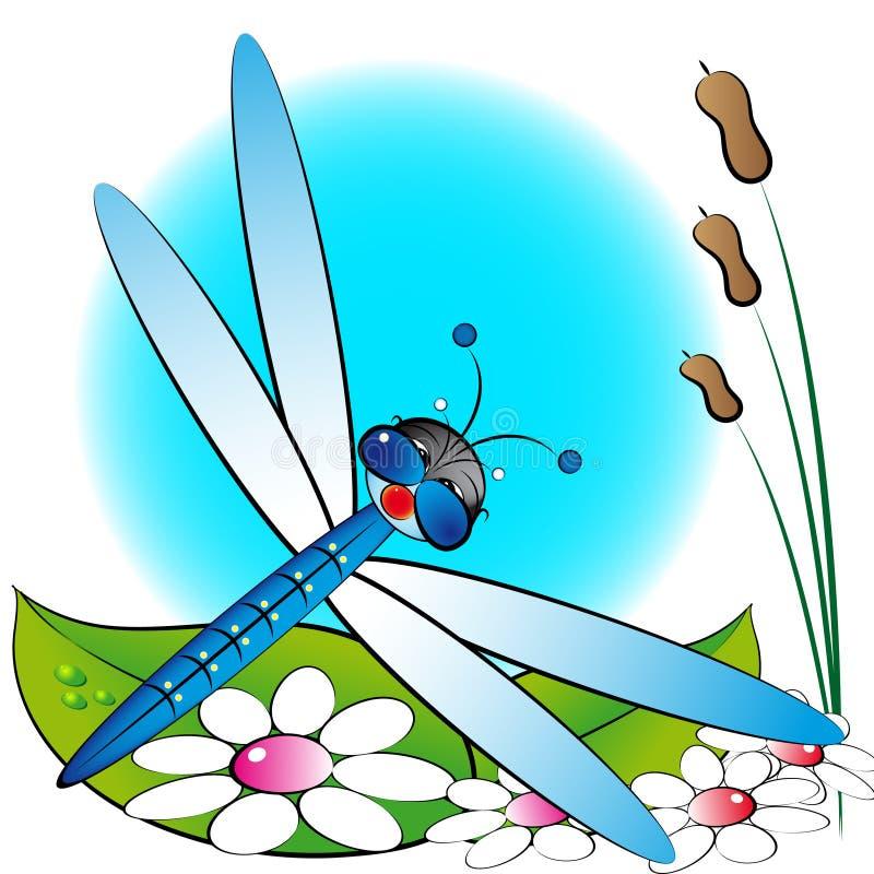 Libel en bloemen, jonge geitjesillustratie royalty-vrije illustratie